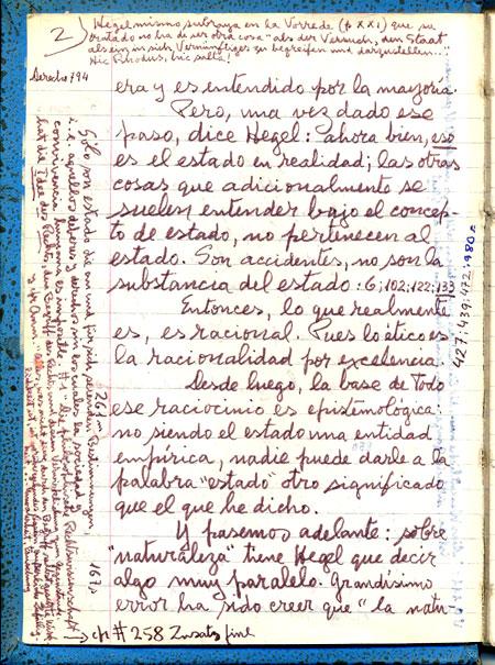 Muestra de Manuscritos Filosofía de Hegel