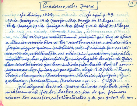 Muestra de Manuscritos Cuadernos sobre Marx